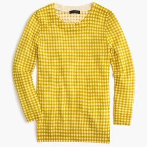 J. Crew Gorgeous Tippi Sweater Gingham Yellow