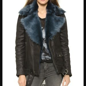 BLK DNM Leather Coat 8 with Fur Collar