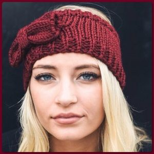 Accessories - NWT Burgundy Knit Bow Headband