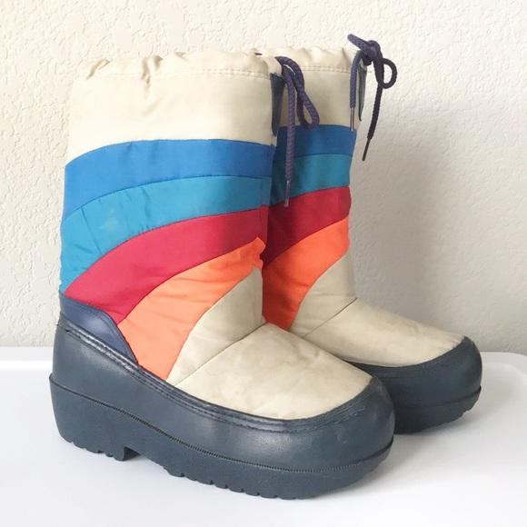 Vintage Shoes Vtg 70s Rainbow Blue Sole Ski Snow Moon Boots Poshmark