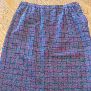 Pendleton Wool Navy & Purple Plum Plaid Skirt