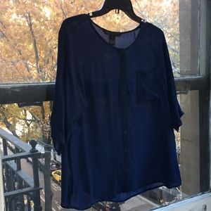 Marc by Marc Jacobs Silk Blue Button-up Blouse