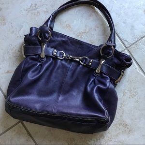 B. Makowsky Purple Leather Shoulder Bag