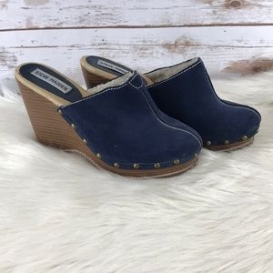 Steve Madden Faux Blue Suede Studded Wedge Clogs