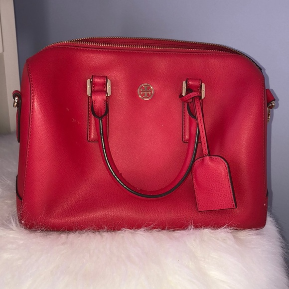 6d9a1688740c Tory Burch Poppy Red Robinson Middy Satchel. M 5a1b090299086aa02006f5a0
