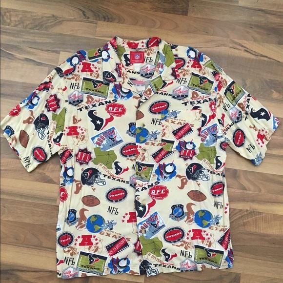 219511b841b NFL Shirts | Vtg Houston Texans Rayon Hawaiian Button Up Shirt ...