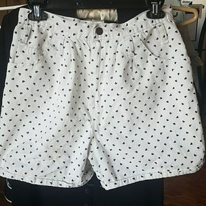 White Heart Shorts