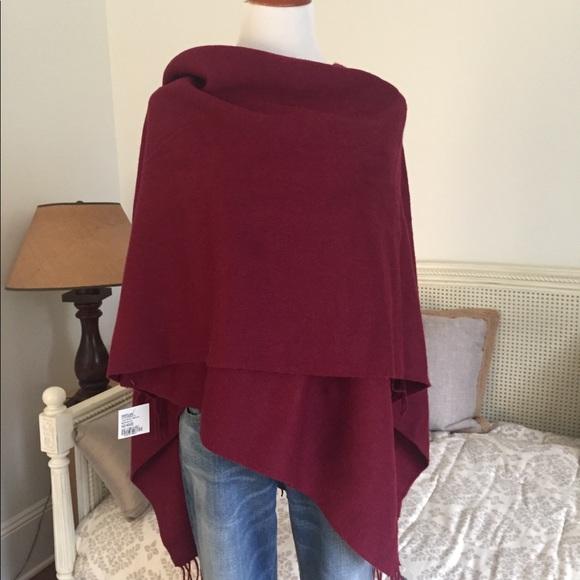Portolano Accessories   New Virgin Wool Ruana Shawl Wrap