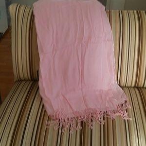 Accessories - Pink silk and wool wrap with tassles