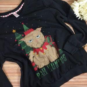 Tops - Grumpy Cat Bah Humbug Xmas Pullover
