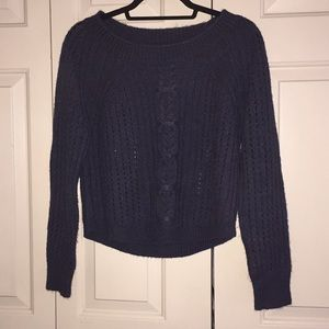 navy cable knit 360 sweater