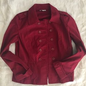Ann Taylor LOFT Red Double Breasted Blazer Small