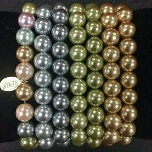 Kenneth Jay Lane set of pearl bracelets