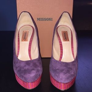 Missoni Camoscio purple suede/pink fabric heels