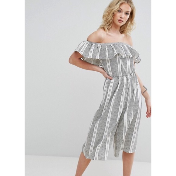 c23df3c40b Missguided Striped Bardot Jumpsuit