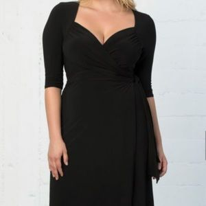 Kiyonna Sweetheart knit wrap dress black 3x