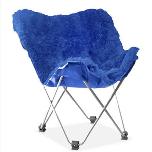 Delicieux Fuzzy Blue Butterfly Chair Cover