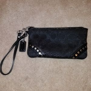 Authentic  Black Coach Wristlet with Silver Studs
