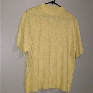 Gold Shimmery Holiday Ribbed Sweater•Sz XL