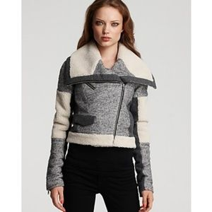 CYNTHIA STEFFE 🍂 Tweed Shearling Patchwork Bomber