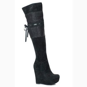 Black suede thigh high wedge platform boots 8