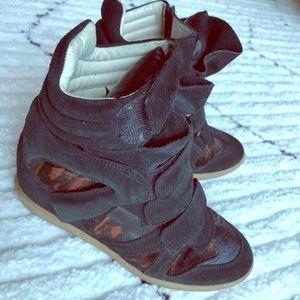 Isabel Marant size37 Calfskin velvet Wedge Sneaker