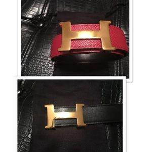 Authentic Hermes reversible belt sz small; EUC