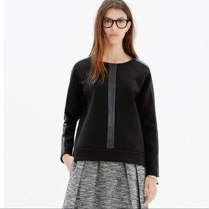 💥RARE💥Madewell Black Leather Insert Sweatshirt