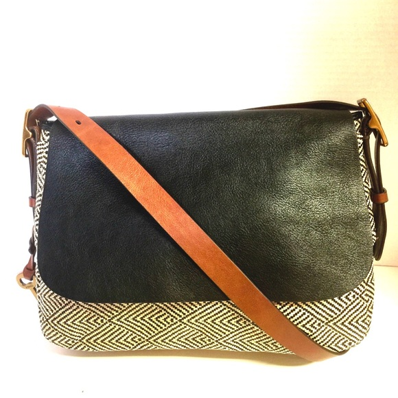 de874f84a915 Fossil Handbags - Fossil Harper Large Tweed Brown Crossbody Flap Bag