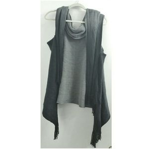 Ombre Sleeveless Cardigan With Fringe