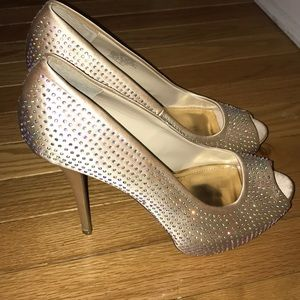 😍open toe Gold bling heels 👠
