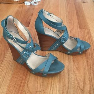 Via Spiga aqua leather wedges