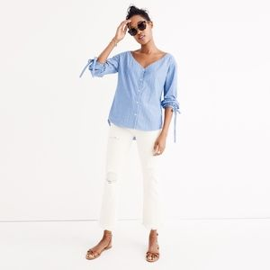 Madewell NEW Morningview Tie Sleeve Shirt
