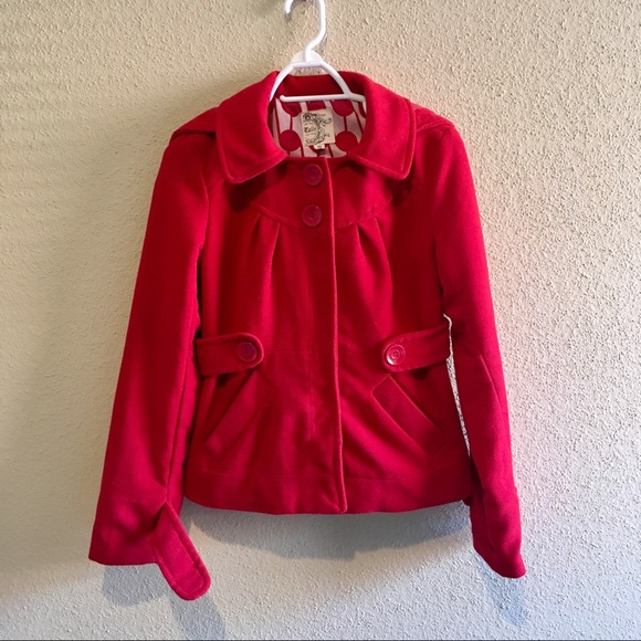 Tulle Red Button Up Jacket by Tulle