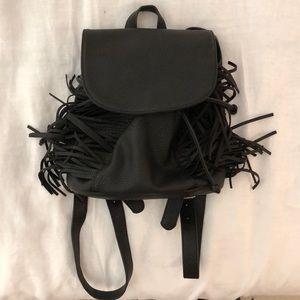 Black leather fringe backpack purse