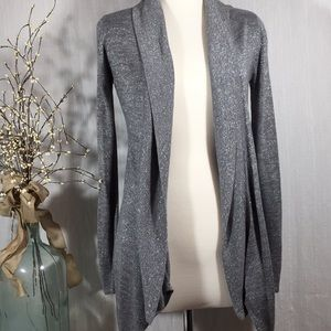 Cache grey open cardigan with metallic shimmer