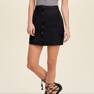 Black Suede Button-up Skirt