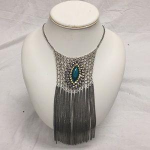 Very Long Jeweled Chained Dangling bib.