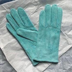 Vintage Genuine Leather Teal Gloves