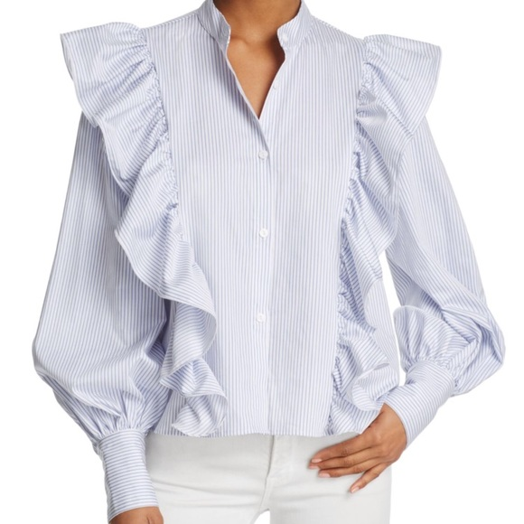72c7237d Petersyn Tops | Ruffle Button Down Shirt Size S Small | Poshmark
