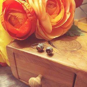 Jewelry - Sterling silver & amber hook earrings