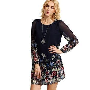 Dresses & Skirts - Chiffon Sleeve Floral Black Shift Dress