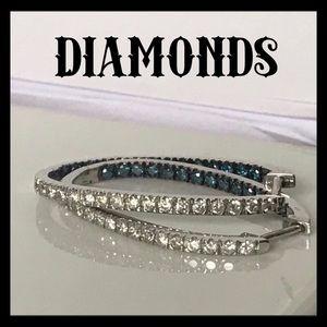 Jewelry - Blue & White Diamond Hoop Earrings