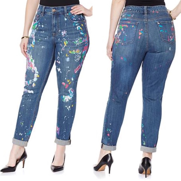 cd3919b8e57 Melissa McCarthy Seven7 Paint Spatter Skinnies