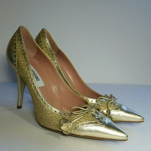 Moschino Gold Sparkly Glitter Pointed Heels 36.5