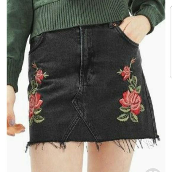 27a91fb35 Free People Skirts | Black Jean Mini Skirt With Rose Detail | Poshmark