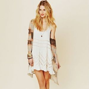 Free People Voile and Lace Trapeze Slip in White