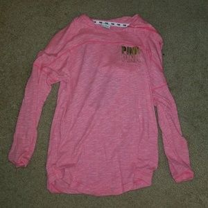 Pink hooded back cutout sweater