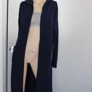 Sweaters - New Knitted Open Cardigan Hooded Blue