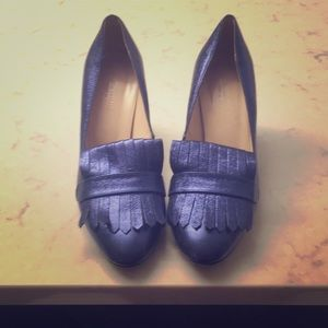 Metallic Blue Loafer Style Pump